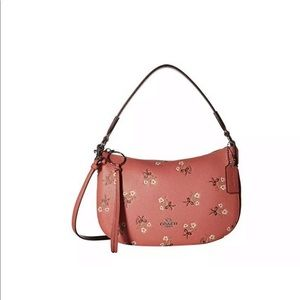 Coach Sutton Floral-Print Leather Bright Coral